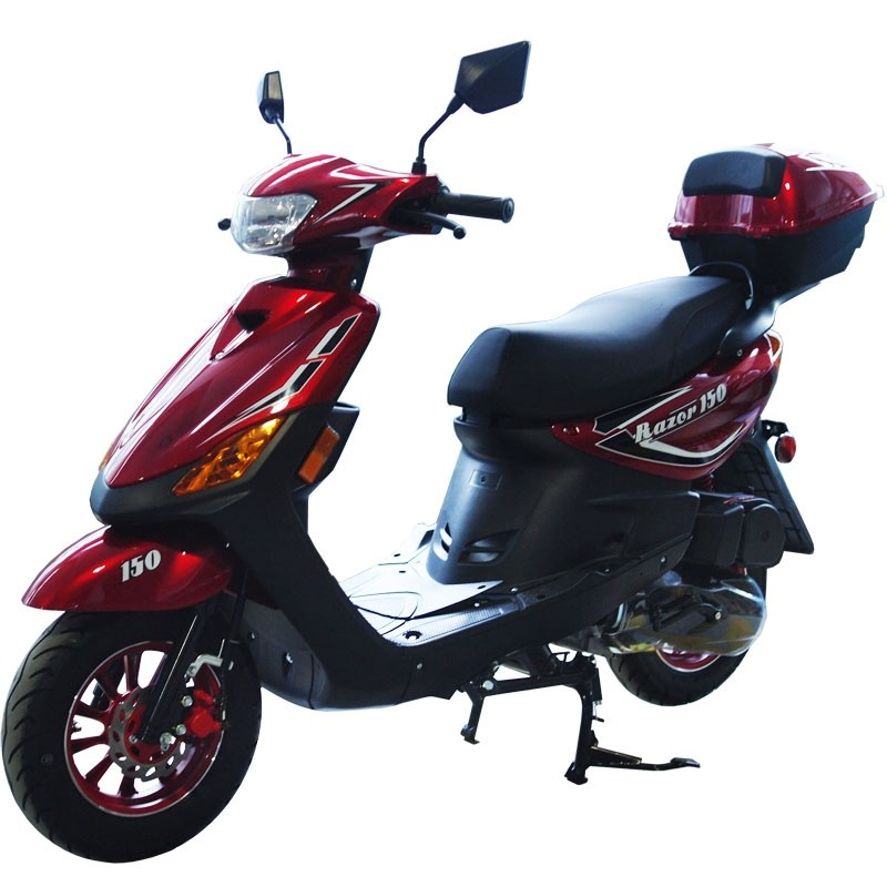 150cc Moped Scooter Razor 150 RED with New Design Sporty Look, Electric and Kick Start, Low Seat Height (Open box, no rear box, Sell AS IS)