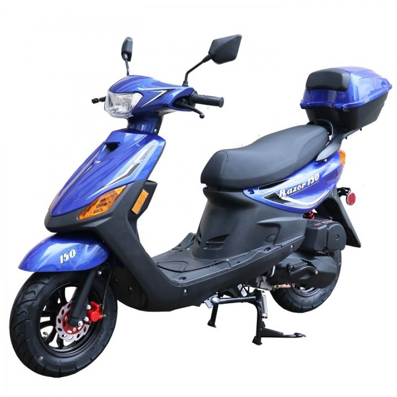 150cc Moped Scooter Razor 150 BLUE with New Design Sporty Look, Black Wheel, Electric and Kick Start, Low Seat Height