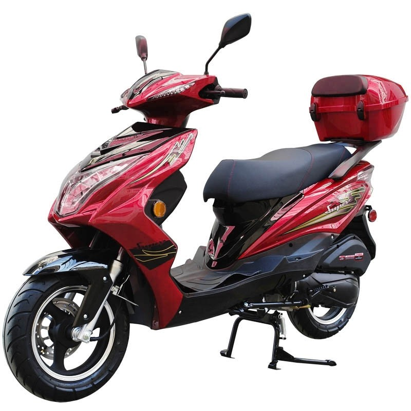 200cc Gas Moped Scooter Super 200 Red, Automatic CVT Big Power Engine, Sporty Style