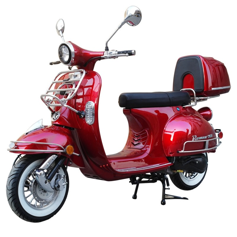 200cc Gas Moped Scooter Romeo 200 RED, Automatic CVT Big Power Engine, Retro Style