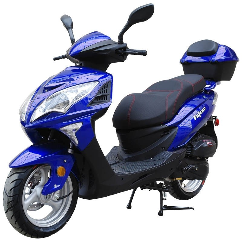 200cc Gas Moped Scooter Falcon Blue, 200cc Automatic CVT Engine, Big Wheel and Body