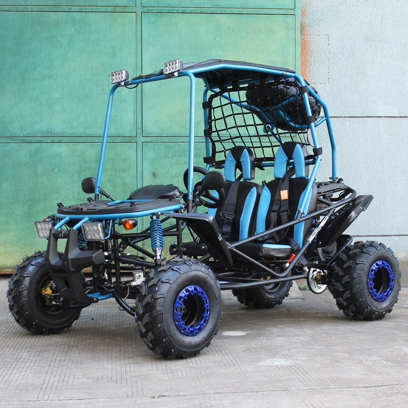 200cc GSX Go Kart, BLUE Full Size for Adult and Big Kids, Auto with Reverse, High Power Engine, Spare Wheel (NEW and open box, mostly assembled, SELL AS IS)