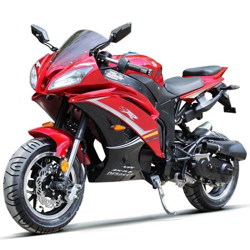 50cc Gas Motorcycle DF SST with CVT Auto Tranny, Aluminum Wheels