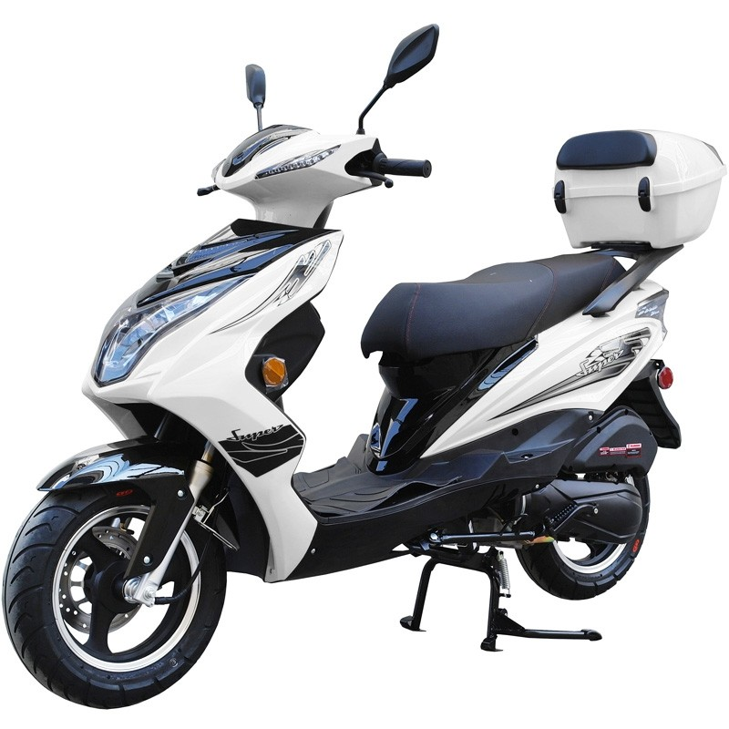 200cc Gas Moped Scooter Super 200 White, Automatic CVT Big Power Engine, Sporty Style