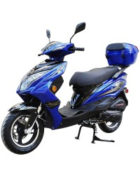 200cc Gas Moped Scooter Super 200 BLUE, Automatic CVT Big Power Engine, Sporty Style