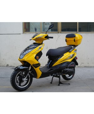 200cc Gas Moped Scooter Super 200 Yellow, Automatic CVT Big Power Engine, Sporty Style