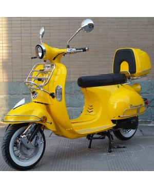 200cc Gas Moped Scooter Romeo 200 Yellow, Automatic CVT Big Power Engine, Retro Style