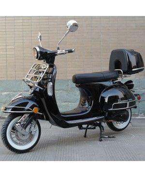 200cc Gas Moped Scooter Romeo 200 Black, Automatic CVT Big Power Engine, Retro Style