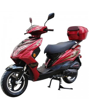 200cc Gas Moped Scooter Super 200 Red, Automatic CVT Big Power Engine, Sporty Style (Open Box, damage on decal sticker and minor scratch, SELL AS IS)