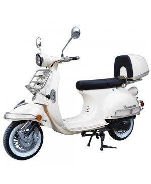200cc Gas Moped Scooter Romeo 200 White, Automatic CVT Big Power Engine, Retro Style