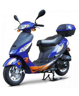 50cc Gas Scooter Moped Express Blue with Auto Transmission (Refurbish, minor scratch on decal, SELL AS IS)