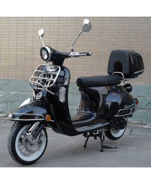 50cc Gas Scooter Romeo 50 Black Retro Style Body, Slick Design, Fully Automatic