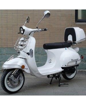 50cc Gas Scooter Romeo 50 White Retro Style Body, Slick Design, Fully Automatic