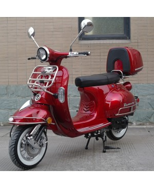 50cc Gas Scooter Romeo 50 Red Retro Style Body, Slick Design, Fully Automatic