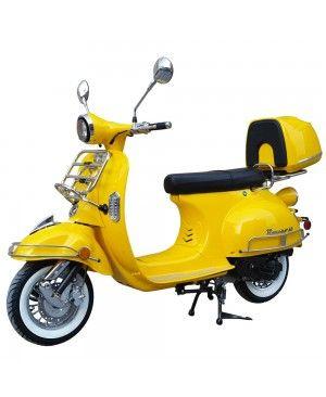 50cc Gas Scooter Romeo 50 Yellow Retro Style Body, Slick Design, Fully Automatic