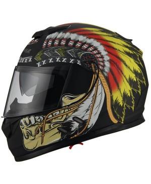 AH16- native skull yellow feathers