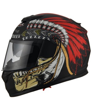 AH16- native skull red feathers