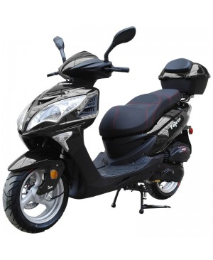 200cc Gas Moped Scooter Falcon BLACK, 200cc Automatic CVT Engine, Big Wheel and Body