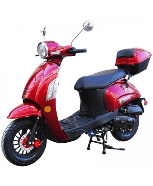 50cc Classic 50 Retro Italian Style Gas Moped Scooter, Automatic, Classic wheel set, Chromeplated Acessories and more