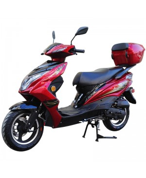 50cc Super 50 Gas Moped Scooter Red with Big Body, Automatic CVT, 12 inch Aluminum Wheel