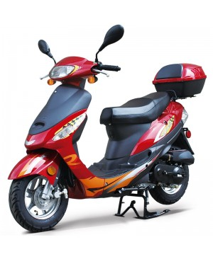 50cc Gas Scooter Moped Red Express with Auto Transmission