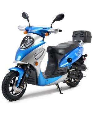 Boom 50cc Moped Scooter BD50QT-2A with 10'' Wheels Rear Trunk