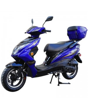 50cc Super 50 Gas Moped Scooter Blue with Big Body, Automatic CVT, 12 inch Aluminum Wheel