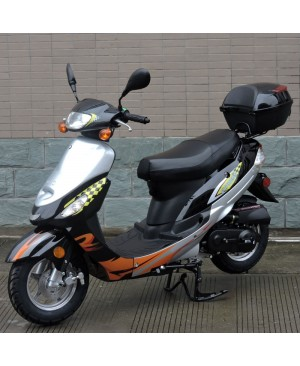 50cc Gas Scooter Moped Black Express with Auto Transmission (Refurbish, minor scratch on body panel, Sell AS IS)