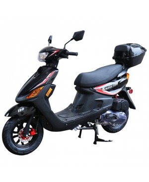 150cc Moped Scooter Razor 150 Black with New Design Sporty Look, Black wheel, Electric and Kick Start, Low Seat Height
