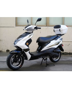50cc Super 50 Gas Moped Scooter White with Big Body, Automatic CVT, 12 inch Aluminum Wheel