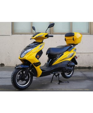 50cc Super 50 Gas Moped Scooter Yellow with Big Body, Automatic CVT, 12 inch Aluminum Wheel